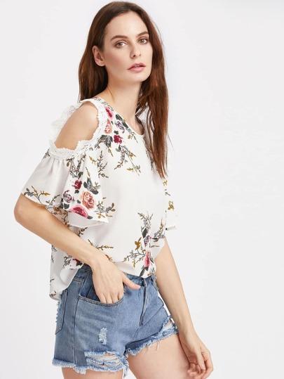Crochet Lace Trim Open Shoulder Florals Top