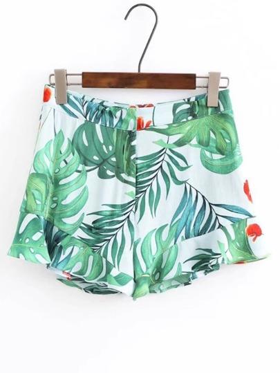 Shorts taille haute imprimé des feuilles