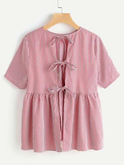 Split Bow Tie Back Striped Babydoll Top