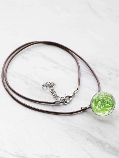 Collana di pendente del fiore di vetro di contrasto