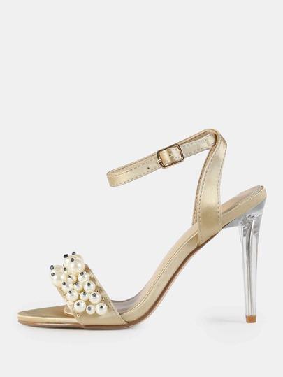 Velvet Clear Stiletto Pearl Heels NUDE