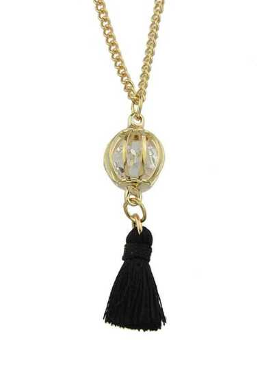 BLack Color Trendy Rhinestone Tassel Women Pendant Necklaces