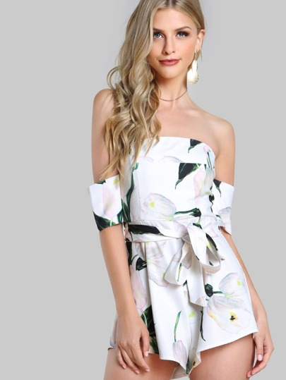 Bardot Sleeve Floral Print Tie Romper WHITE MULTI