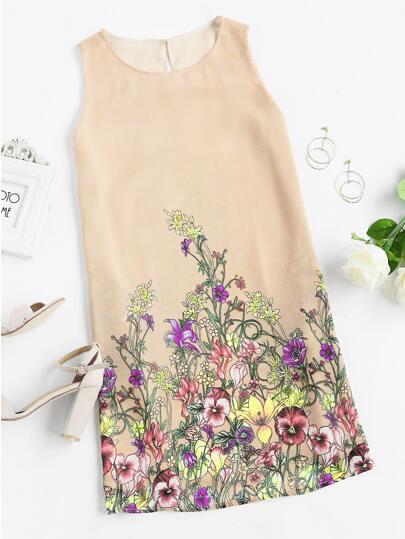 Botanical Print Buttoned Keyhole Back Side Pocket Dress