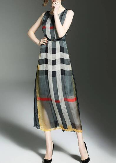 Color Block Plaid Elastic-Waist Dress