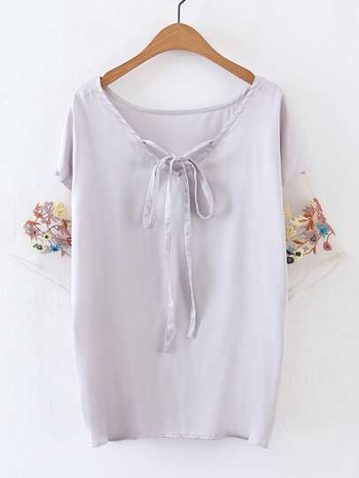 Tie Neck Contrast Embroidered Sleeve Chiffon Top
