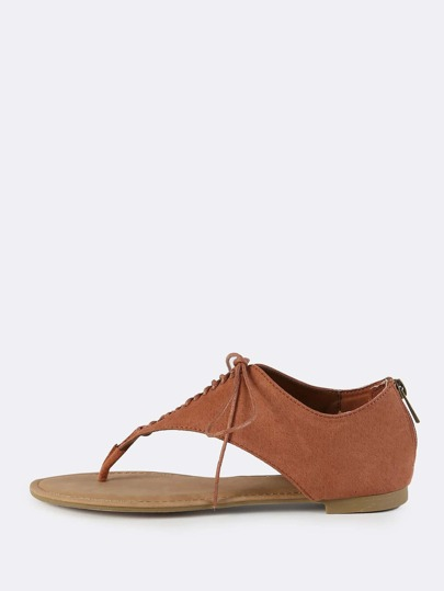 Faux Suede Lace Up Thong Sandals MOCHA
