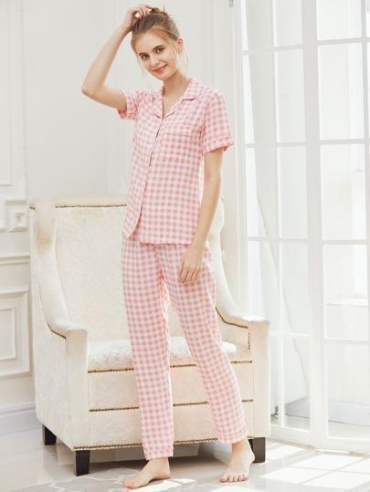 Gingham Revere Collar Pajama Set