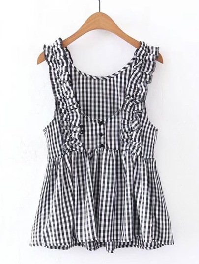 Checkered Frill Trim Sleeveless Top