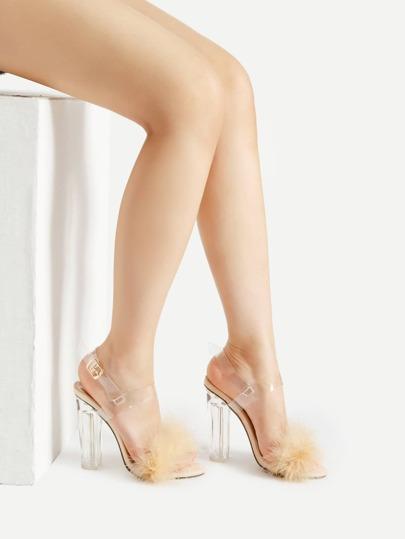 Sandales de talons en cuir artificiel avec lacets
