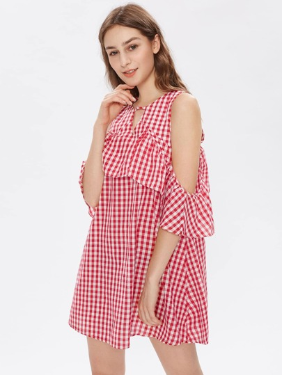 Open Shoulder Ruffle Trim Gingham Dress