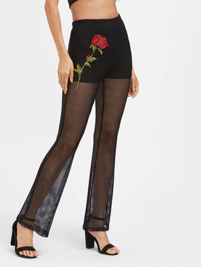Embroidered Applique Fishnet Mesh Overlay Pants