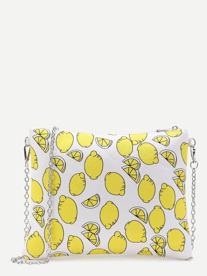Fruit Print Clutch Bag With Chain
