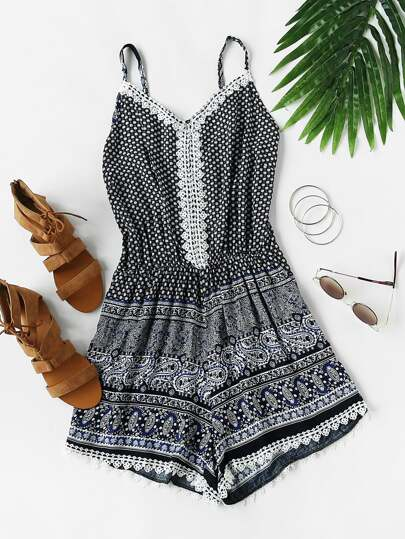 Cami Jumpsuit mit Muster und Spitzen