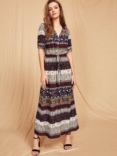 Aztec Print Drawstring Shirt Dress