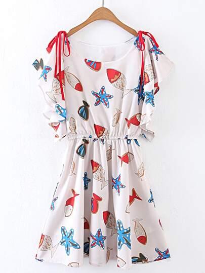 Starfish Print Tie Detail A Line Dress