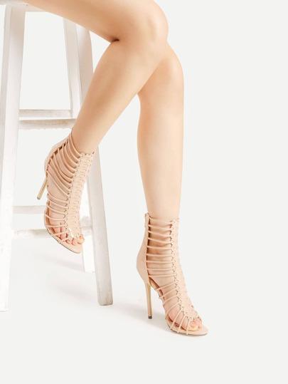 Sandales découpées en PU avec le zip
