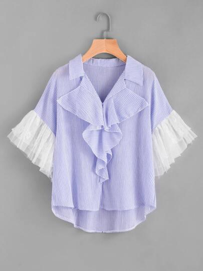 Pinstripe Frill Trim Contrast Lace Cuff Dip Hem Top