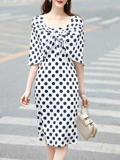 Boat Neck Polka Dot Cape Dress
