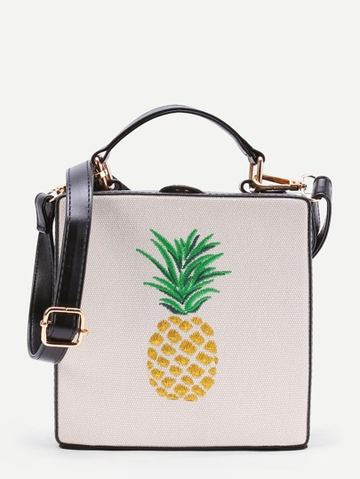 Pineapple Embroidery Grab Bag