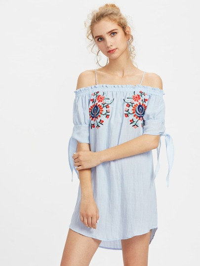 Cold Shoulder Frill Trim Embroidery Dress