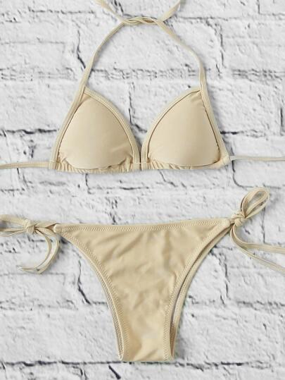 Side Tie Triangle Bikini Set