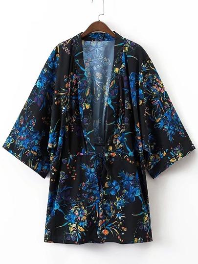 Kimono con estampado floral con cordón en la parte delantera