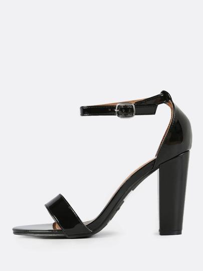 Ankle Strap Patent Heels BLACK