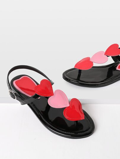 Heart Design PU Toe Post Sandals