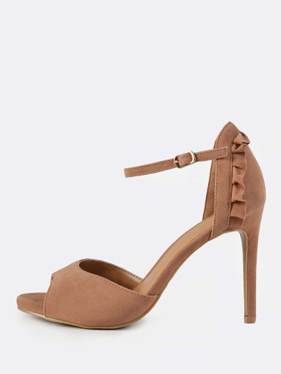 Frilly Trim Ankle Strap Heels CAMEL