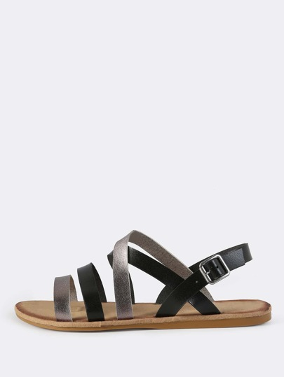 Faux Leather Two Tone Sandals BLACK