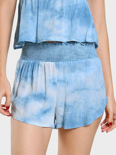 Tie Dye Shirred Waistband Shorts BLUE