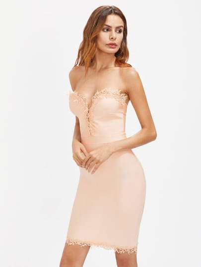 Sweetheart Lace Trim Bandeau Dress