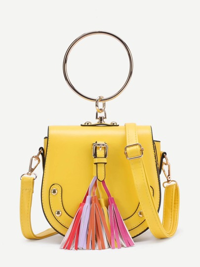 Tassel Detail PU Crossbody Bag With Ring Handle