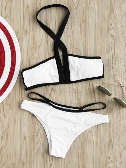 Contrast Trim Halter Neck Strappy Bikini Set