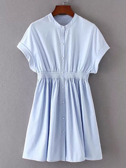 Elastic-Waist Pleated Dress With Pearl Buttons