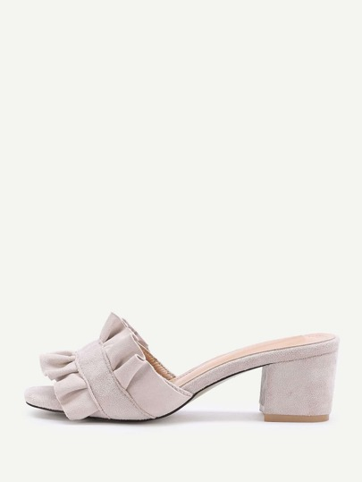 Ruffle Design Block Heeled Sandals