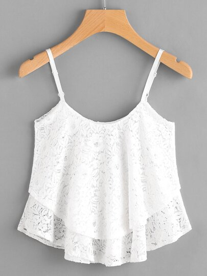 Layered Floral Lace Cami Top