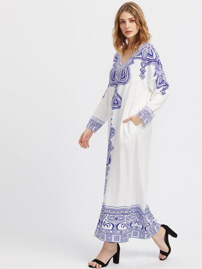Tribal Print Drop Shoulder Tunic Dress