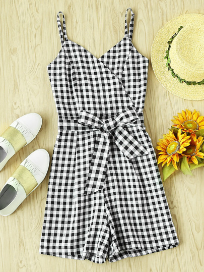 Wrap Bow Tie Front Checked Cami Romper