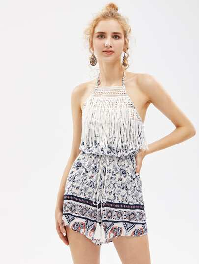 Halterneck Fringe Trim Playsuit