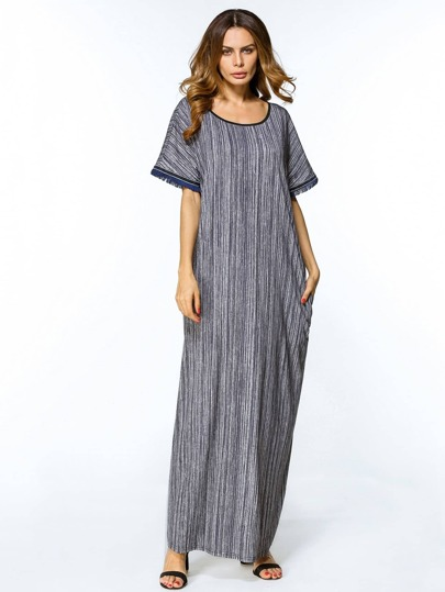 Striped Contrast Trim Fringe Sleeve Maxi Dress