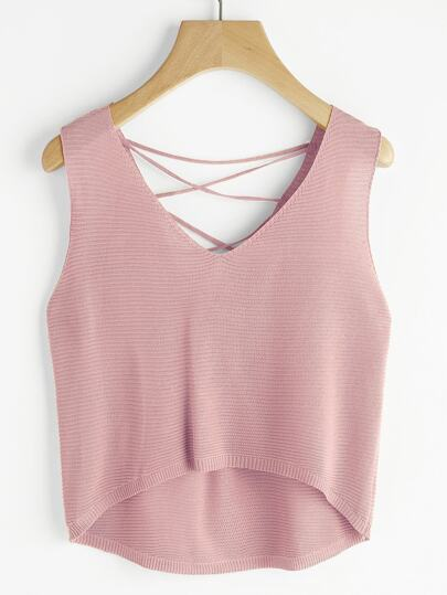 Dip Hem Lace Up Back Knit Tank Top
