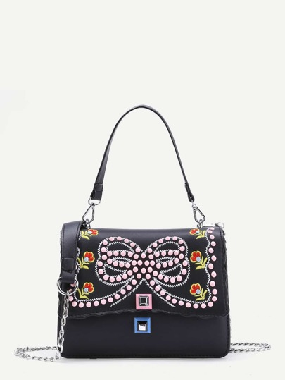 Studded Bow Pattern Tote Bag With Chain Strap