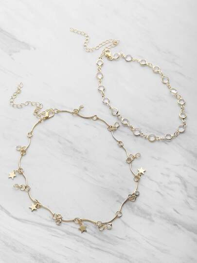 Crystal And Metal Star Chain Choker Set
