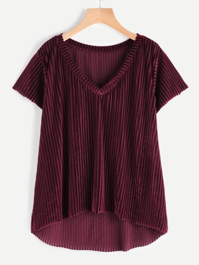 V Neck High Low Striped Velvet Tee