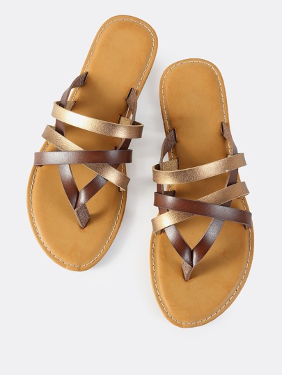 Cross Strap Slip On Sandals BROWN