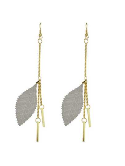 Gray Color Feather Spike Pendant Long Earrings