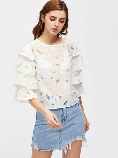 Layered Sleeve Cutout Flower Top