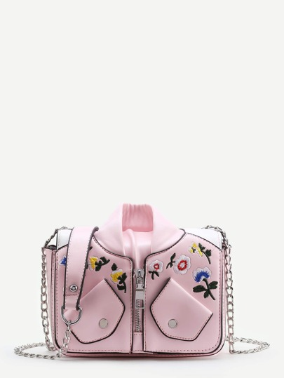 Baseball Jacket Shaped Chain Bag With Flower Embroidery